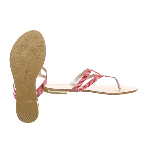 Ital-Design Zehentrenner Damenschuhe Blockabsatz Sandalen Sandaletten Rot 37-43
