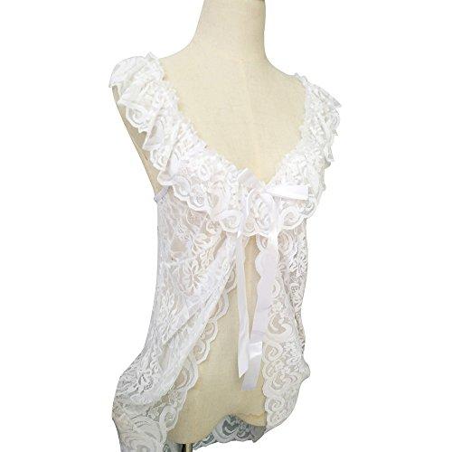 Vovotrade ✿✿Verlockende Dessous Frauen Unterwäsche Babydoll Nachtwäsche Lace Dress G-String Set Weiß