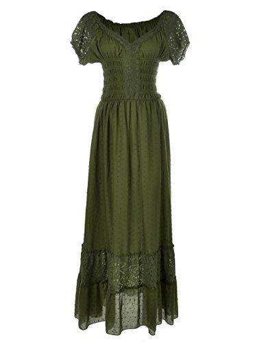 Anna-Kaci Frauen Einfarbige Elastische Smock Taille Sommer Flügelärmeln Boho Gypsy lange Lace Spitze Oktoberfest Maxikleid Kleid - Panel V-ausschnitt Kleid