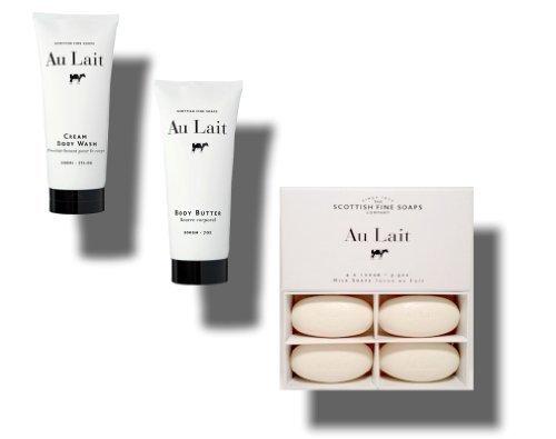 Au Lait Cream Body Wash 7 Oz. + Body Butter 7 Oz. + Milk Soap 4 X 100 Gm 3.5 Oz. Bundle (3-items) by Scottish Fine Soaps -
