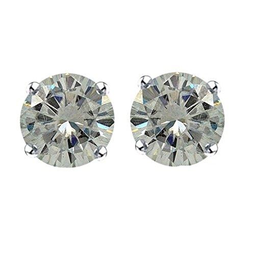 Lilu Jewels 0.25ct Moissanite 3mm, taglio brillante rotondo solitario orecchini con Spingere su argento Sterling (Taglio Rotondo Moissanite Solitaire)