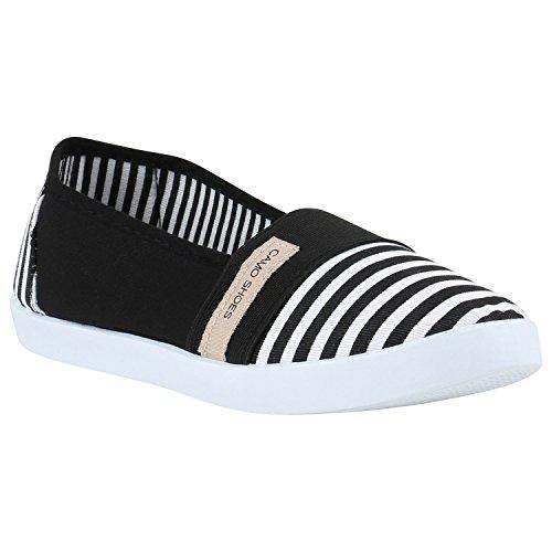 Sportliche Damen Ballerinas Freizeit Slipper Bequeme Flats Stoff Slip-Ons Sneakers Denim Prints Schuhe 142073 Schwarz Prints 36 Flandell