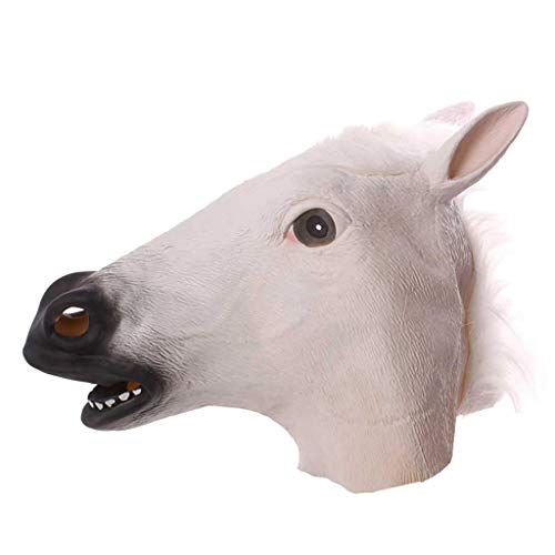 play maskerade halloween lustige lustige latex pferdekopf abdeckung filz maske bar dekoration (Color : White) ()