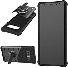 Samsung Galaxy Note 8 Case,SUNWAY [Armor Series] Matting PC + Input TPU Shockproof Protective Cover Case with 360 Degree Rotating Stand Ring Holder for Samsung Galaxy Note 8 - Black