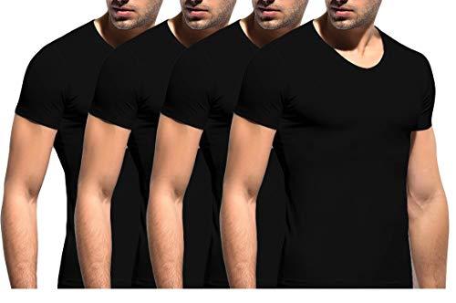 2er   4er Pack Herren Unterhemd T-Shirt mit V-Ausschnitt Stretch 95/5 - Baumwolle/Elasthan in Weiß, Grau, Schwarz S-XXL (M, Schwarz) - Schwarze Stretch-unterhemd