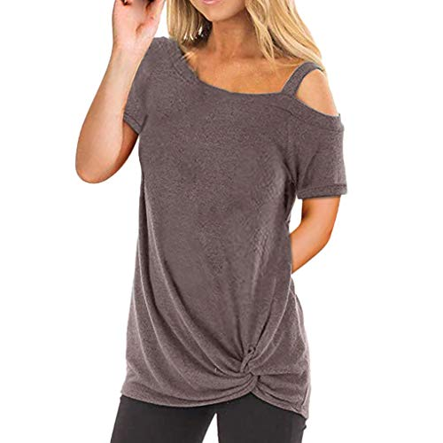 Refill Sommer Shirt Kurzarm T-Shirt für Damen,Asymmetrisch Saum Oberteile Schulterfrei Einfarbig...