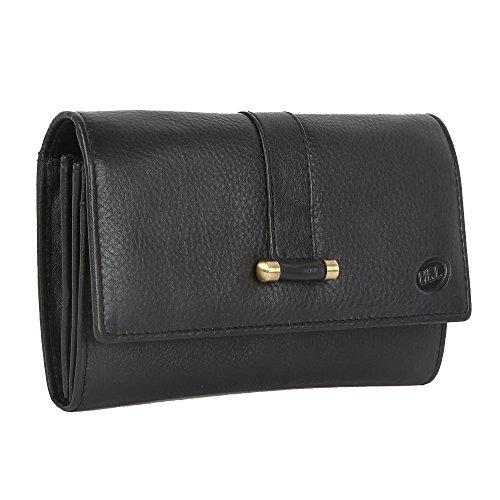 Premium Echt Leder Brieftasche für Damen Weich, bequem und stilvoll–Schwarz und Dunkelbraun, Leder, schwarz, 17x12 (Kleinen Geldbeutel Gucci)