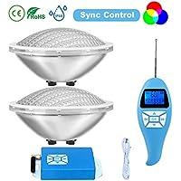 LyLmLe Led Piscina PAR56, 30W Foco LED Sincronizador externo RGB con Control Remoto para Piscinas Multicolor Sumergible Iluminación IP68 Impermeable,12V AC(2 Focos)