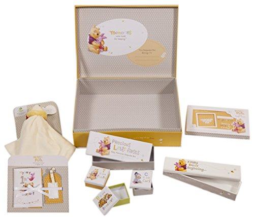Winnie The Pooh Disney Hallmark Large New Baby Keepsake Memories Gift Box Unisex Set 6 Piece with Small Keepsake Boxes, Birth Certificate Holder, Height Chart, Comforter, Passport Holder & Luggage Tag