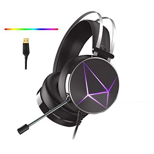 Gaming Headset kompatibel Xbox One PS4, PS4 Headset mit 7.1 Surround Sound, Ohrhörer mit Mikrofon, weicher Memory-Ohrenschützer, Xbox One Headset mit Geräuschunterdrückung, Mikrofon mit LED-Licht -