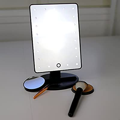 21 LED Lighted Makeup Mirror / Vanity Mirror with Touch Screen Dimming, Detachable 10X Magnification Spot Mirror, 180° Swivel Rotation, Portable Convenience and High Definition Clarity Cosmetic Mirror - low-cost UK light store.