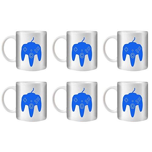 STUFF4 Tasse de Café/Thé 350ml/6 Pack Bleu/N64/Céramique Blanche/ST10