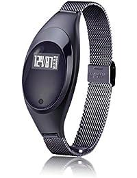 Smart Watch, ZIMINGU Z18 Femme Bracelet Intelligent Calorie et Distance Fitness Tracker mesure de la tension artérielle Moniteur de fréquence cardiaque Imperméable Bluetooth - Android IOS (noir)