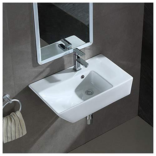 LHY BATHLEADER Lavabo con troppopieno Moderno Lucido Bianco Ceramica Piccolo lavabo Guardaroba sospeso Bagno lavandino