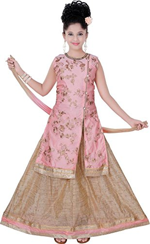 Saarah Girls Ethnic Wear Beige Color Self Design Lehenga Choli