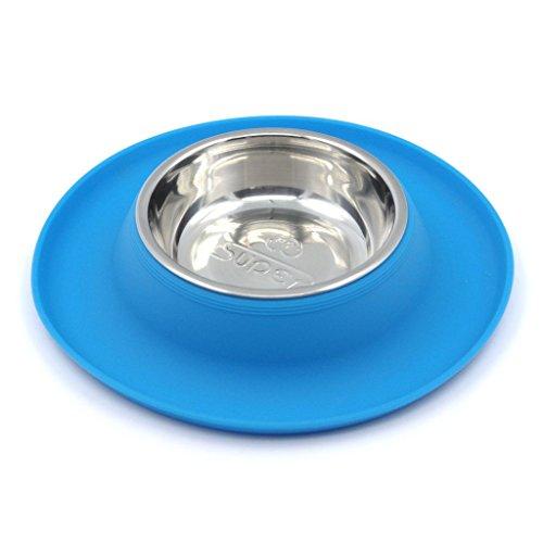 Artikelbild: SuperDesign Hunde Katze Fressnapf Futternapf Edelstahl rutschfest mittelgross, Blau