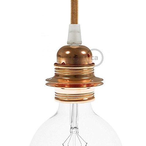Douille en métal cuivre, culot ampoule E27, 2 bagues
