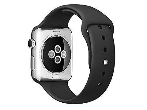 Apple Watch Uhrenarmband Original Schwarz 42mm S/M und M/L Genuine TPU mit Clip Stahl für Apple Watch & Apple Watch Sport Edition 42mm Band TPU Elastomer Mod: MJ4Q2ZM/A