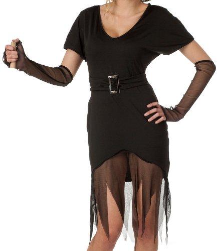 r-dessous schwarzes Hexenkleid Kostüm Vampir Outfit für Halloween und Karneval Groesse: S/M