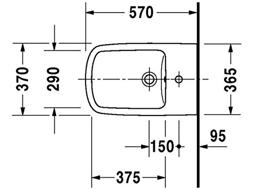 Duravit DuraStyle Stand-Bidet mit Überlauf, Befestigung inklusive 370 x 570mm, weiß mit Wondergliss