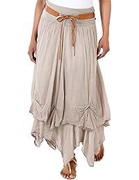 KRISP® Femmes Jupe Longue Uni Mousseline Ceinture Doré Gypsie Hippie Chic Tendance