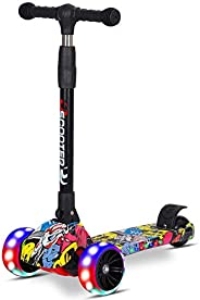 Kids Scooter Rigid 3 Wheels Urban Lean-to-Steer, Kick graffiti Scooter Adjustable Height Foldable Smooth Ridin