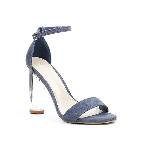 Ideal Shoes - Sandales effet daim et talon transparent Valeriana Bleu