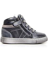 Nero Giardini - Sneakers Alte Bambino in Pelle - Blu A724401M 200 -  A724401M 200 1d6bdee952f