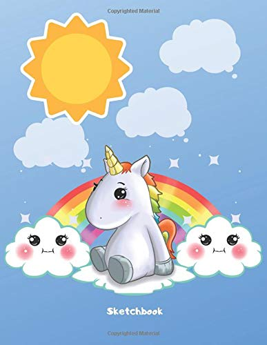 Sketchbook: Cute Kawaii Rainbow Cloud Unicorn Sketchbook for Girls. 110 Pages Blank Paper for Doodling, Drawing & Sketching. Funny Unicorn Party ... Unicorn Gift Idea for Kids & Unicorn Lover.