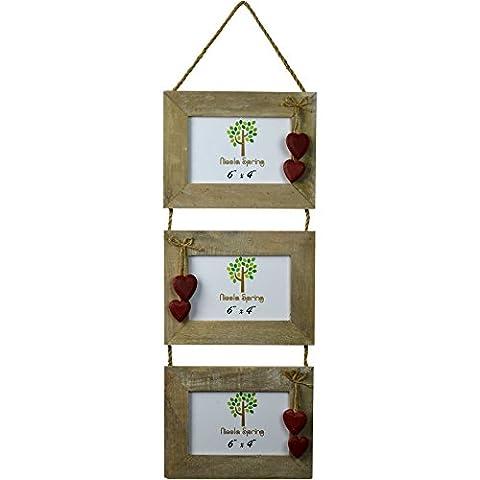 Cadre photo triple en bois à suspendre pour 3 photos avec coeurs rouges de Nicola Spring - 6 x 4