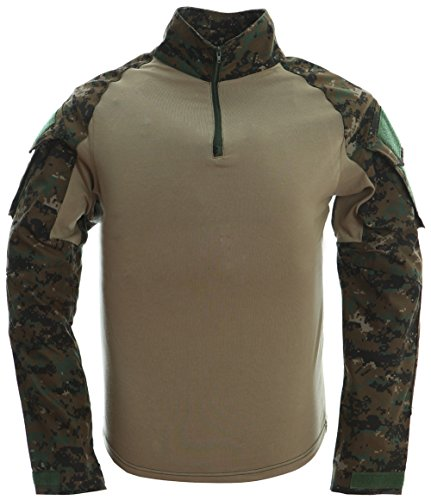 TACVASEN Draussen Sport Herren T-Shirt Militär Hemd Lange Ärmel Camo Tarnung