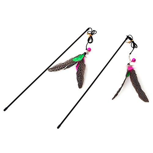 myfei 5PCS Colorful Feather Kätzchen Teaser Interaktives Spielzeug mit Glocke und Feder (Und Schwarzen Feder-boa Roten)