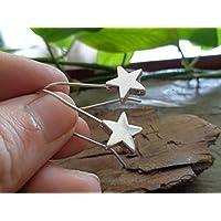 ESTRELLA ROBUSTO CON GANCHO LARGO aretes únicos, estrellas robustas en ganchos hechos a mano en color plata