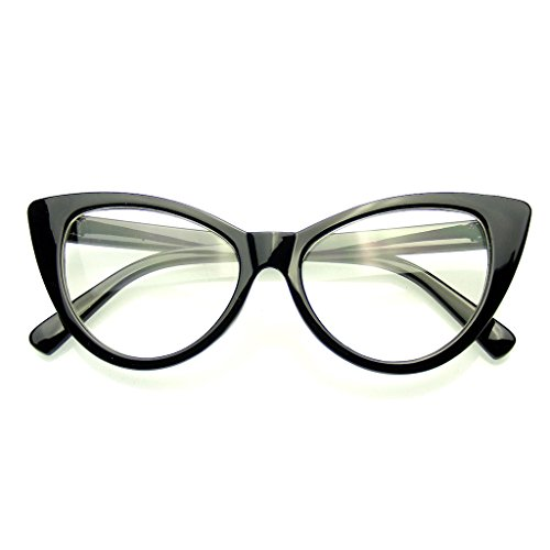 Super Cat Eye Brille Vintage-Mode Mod Clear Lens Brillen (Schwarz)