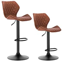 WOLTU Bar Stools Brown Bar Chairs Breakfast Dining Stools for Kitchen Island Counter Bar Stools Set of 2 pcs Faux Leather Exterior/Adjustable Swivel Gas Lift/Black Chrome Steel Footrest & Base