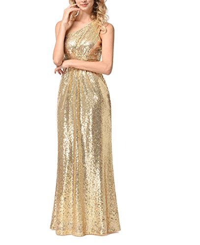 Weekendy Fashion Golden Abendkleid Solid Color Kleid ärmelloses Kleid Schulter Paillettenkleid...