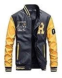Tomwell Herren Sportjacke Winterjacke Bomberjacke Fliegerjacke Freizeit Reißverschluss Jacken Mant Baseball Jacke Gelb Large