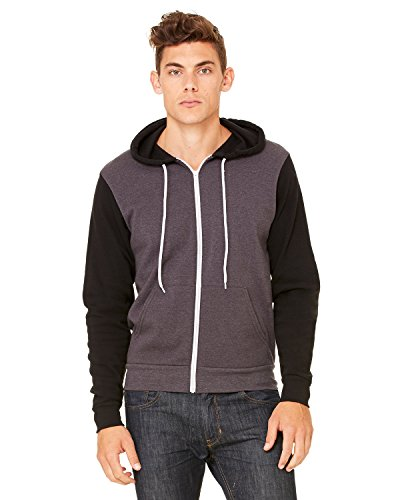 Bella+Canvas: Unisex Poly-Cotton Full Zip Hoodie 3739 Dk Gry Hthr/Blck