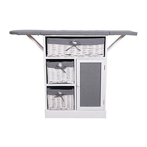 Mobili rebecca® mobiletto per cucire mobile da stiro stile shabby bianco grigio lavanderia cucina (cod. re6066)