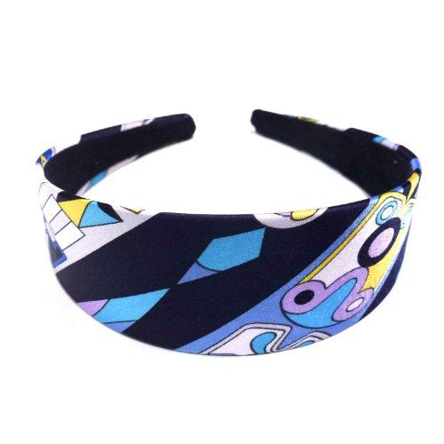 rougecaramel - accessoires cheveux - Serre tête/headband large imprimé - bleu marine