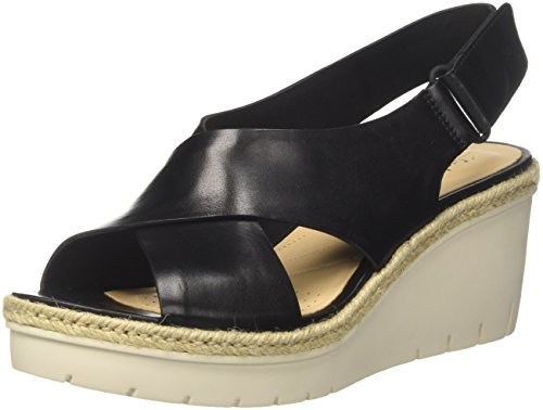 Clark Wedges Schuhe (Clarks Damen Palm Glow Riemchensandalen, Schwarz (Black Leather), 39.5 EU)