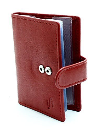 Soft Red Genuine Leather Credit Card Holder Wallet With Removable plastic Sleeves (Red)