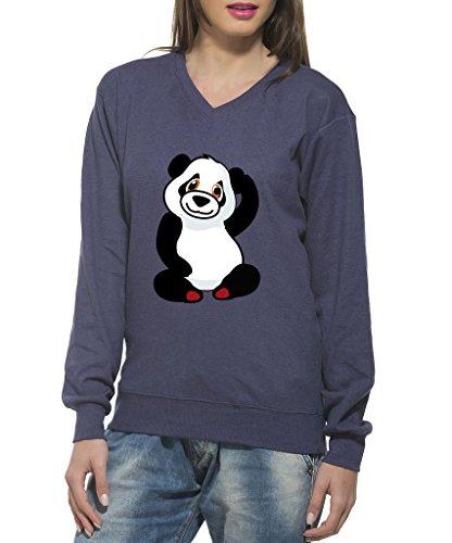 Clifton Women's Printed Neppy Melange Sweat Shirt V-neck-Lavender-Panda -XL