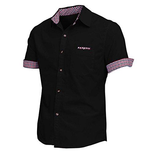 Maenner Hemd - SODIAL(R)Maenner spitzem Kragen kurzes Huelsen Knopf Manschetten laessig Hemd schwarz Asien XL
