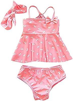 Moollyfox Bikini Niñas Traje de Baño de Dos Piezas Bañador con Cinta de Cabeza Tankini Conjunto Infantil para 2 - 6 Años
