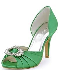 ElegantPark A2136 Mujer Peep Toe Aguja Rhinestones Plisado Satin Boda De Zapatos De Novia