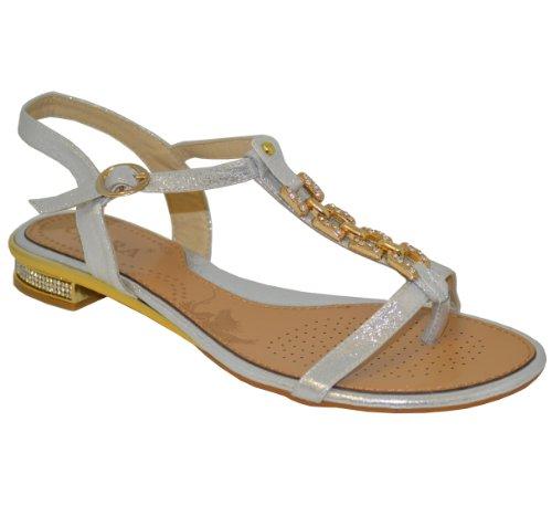 da donna oro tallone/catena con pietre colorate incastonate estivo da spiaggia vuol dire (1005-3) Argento (argento)