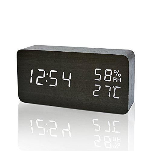 FIBISONIC Digital Wecker mit Geräuschaktivierung/Temperaturanzeige/einstellbare Helligkeit/Datumsanzeige Schwarz