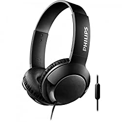 (Certified Refurbished) Philips Bass+ SHL3075 Closed-Back Headphones with Mic (Black)