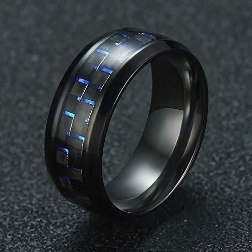 ERDING Unisex/Verlobungsring/Freundschaftsring/8mm schwarzer Edelstahlring für Männer mit Carbonfaser Casual Comfort Wear Männerschmuck